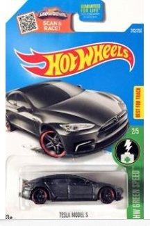 Preisvergleich Produktbild Hot Wheels 2016 - #242 - 1/64 - HW GREEN SPEED - TESLA MODEL S,graphit grau - 2/5