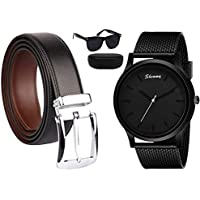 Sheomy Reversible PU-Leather Formal Black/Brown Belt For Men free watches and sunglasses (Color-Black/Brown) belt for…