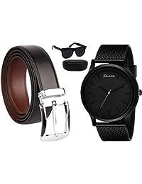 Sheomy Reversible PU-Leather Formal Black/Brown Belt For Men free watches and sunglasses (Color-Black/Brown) belt for men, formal belt, gift for gents, Gents belt, mens belt (Belt-002)