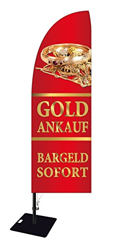 Beachflag Goldankauf -ca. 300 cm hoch- BMD016