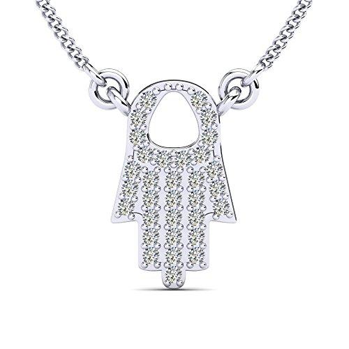 """Moncoeur Lunaire Silber-Halskette """"Die Hand der Fatima"""" mit glanzvollen Zirkonia Kristallen besetzt in 925 Sterling Silber (45 cm) mit Luxusetui"""