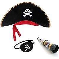 Pirata Sombrero Parche Ojo Capitán Telescopio para Niños y Adultos