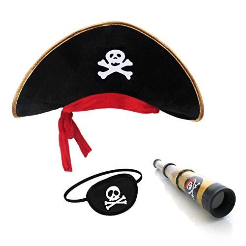 papapanda Kinder Piratenhut Augenklappe Karibik Kapitän Fernrohr Set - Sparrow Jack Piratenhut