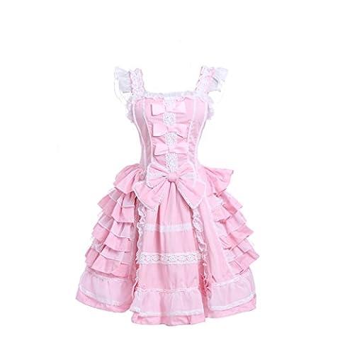 Damen lolita kleider süß ärmellose Lace Bow Dress prinzessin kostuem Maid Cosplay Kostüm Rosa L