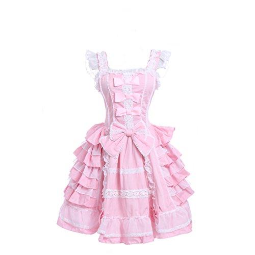 Damen lolita kleider süß ärmellose Lace Bow Dress prinzessin kostuem Maid Cosplay Kostüm (Kawaii Kostüme Halloween)