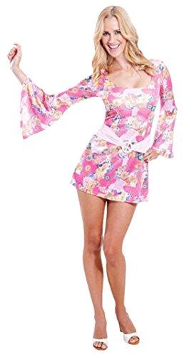 Confettery - Damen Kostüm 60er Jahre Kleid Fledermausärmel Schlager-Move Festival Hippie, M/L, (Madonna Junge Kostüm)