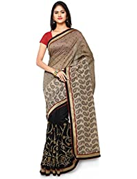 KVSFAB Women's Georgette Half N Half Party Wear Saree,Grey & Black[KVSSR8401KAVYA_13]