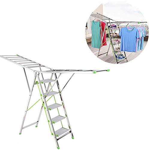ANGEL Escalera de Secado de Ropa Multifuncional, ala Tipo Plegable Estante Colgante Fresco, móvil de la Tacones, Material de Aluminio, Escalera portátil para el hogar
