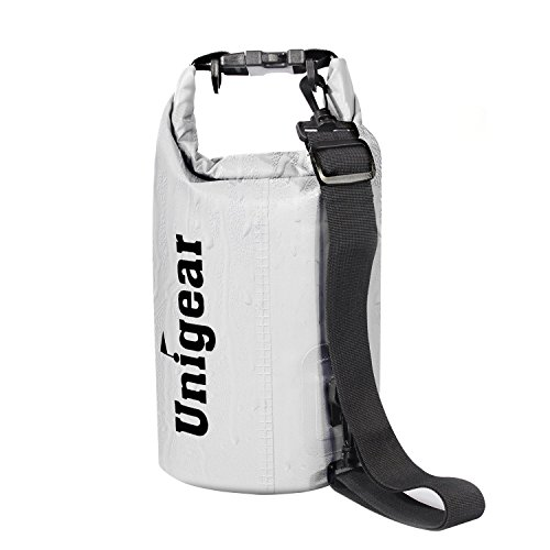 Boot Bag Box (Unigear Sport und Outdoor Trockentasche Dry Bag Wasserdichter Sack Wasserfester Packsack Trockenbeutel zum Bootfahren Wandern Kajaken Kanufahren Schwimmen Snowboarden mit wasserdichter Handyhülle, Weiß, 5L)