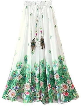 Kaxuyiiy Mujeres Bohemio pintura china pluma de pavo real playa Fiesta partido maxi Largo Falda plisada Long Skirt