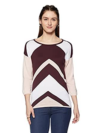 United Colors of Benetton Women's Cotton Sports Knitwear (16A1092D6120I901S_Wine and Multicolored)