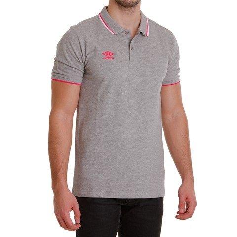 Umbro Tipped Pique, Polo Shirt Herren, Grigio (Grey Marl/Pink Glo/White) - Herren Tipped Pique Polo