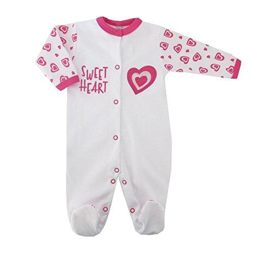 Baby Sweets Baby Strampler Mädchen weiß pink | Motiv: Sweet Heart | Marke Babystrampler mit Herzmotiv für Neugeborene & Kleinkinder | Größe: 56 (Newborn) ... - Marke Baby-mädchen Kleidung,