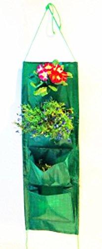 Pflanztasche - Pflanzbeutel - Beutel Pflanzschürze - Pflanzgürtel - Pflanz - Pflanzsack - Pflanzenwand - Wand-Aufhänger - mit Wandaufhänger - Wiederverwendbar - senkrecht und waagerecht bepflanzbar - mit 4 Fächern / Taschen je Seite - grün - 73 x 24 cm