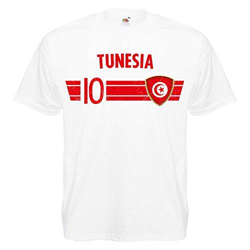 Fußball WM T-Shirt Fan Artikel Nummer 10 - Weltmeisterschaft 2018 - Länder Trikot Jersey Herren Damen Kinder Tunesien Tunisia S (Fußball-kumpel)