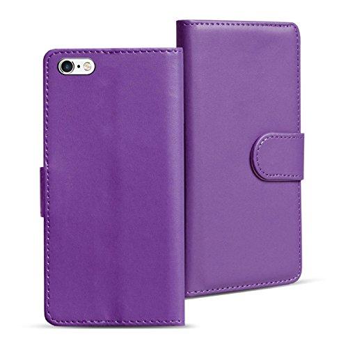 iPhone 6S, 6 Bookstyle Hülle, Conie Mobile PU Leder Schutzhülle Handytasche Bookcase Tasche Premium Klapphülle in Weiss Lila