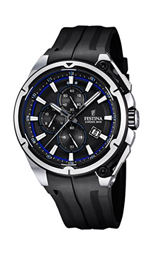 Festina Chrono Bike 2015 Men's Quartz Watch with Black Dial Chronograph Display and Black Rubber Strap F16882/5