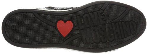 Love Moschino Sca.nod.love30 Lam.PU Emboss.Peltro, Sneaker a Collo Alto Donna Argento (Pewter)