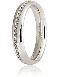 Fede Unoaerre Oro 18 Kt Modello Infinito Con Diamanti, Oro bianco, 12