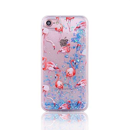 iPhone 7 Plus Case Femme,iPhone 7 Plus (Not pour iPhone 7 4.7 Pouce) Coque Anti chock Transparente Plastic Liquide Coque Etui Case Cover,iPhone 7 Plus Coque Bling Diamant Cœur Etui Coque,iPhone 7 Plus Flamingo 6