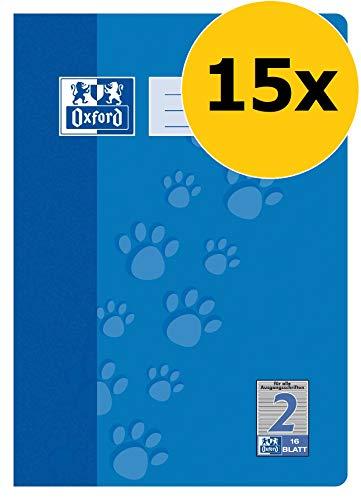 OXFORD 100050401 Schulheft Schule 15er Pack A4 16 Blatt Lineatur 2 (2. Klasse) blau (Liniertes 2. Papier Klasse)