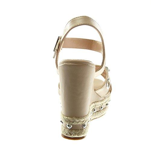 Angkorly Scarpe Moda Sandali Mules con Cinturino Alla Caviglia Zeppe Donna Perforato Perla Borchiati Tacco Zeppa Piattaforma 12 cm Nude