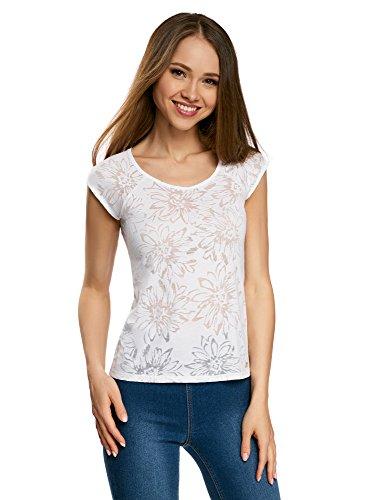 Jersey Raglan-Ärmel (oodji Collection Damen T-Shirt aus Texturiertem Stoff mit Raglan-Ärmeln, Weiß, DE 44 / EU 46 / XXL)