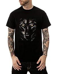 81197e7adb Worsworthy 2019 Manga Corta Casual con Estampado de Cabeza de Lobo  Camisetas Manga Corta Negra Hombre