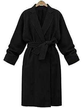YuanDian Mujer Solapa Con Cinturón Moda Abrigo Color Sólido Caída Invierno Abrigo