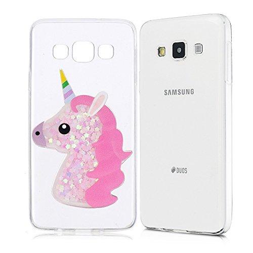 Cover Compatibile con Samsung Galaxy A5 2017 Glitter Custodia, Brillantini Trasparente Creativo 3D Unicorno Silicone Gel Morbida TPU Liquido Sabbie Mobili Bling Sparkle Protezione Bumper - Rosa