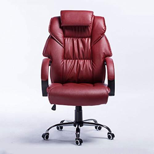 Bürostuhl/Drehstuhl/Konferenzstuhl, Einfach, Leder, Rückenschutz, Hoher Rückprallschwamm, Ergonomisch, Feste Armlehne, Heben, Geeignet für Büroangestellte
