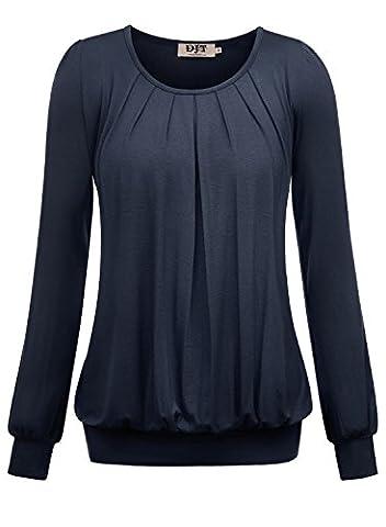 DJT T-shirt Femme Manches longues Plisse Leger Col rond Elastique Bleu fonce M
