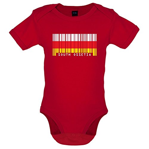 South Ossetia / Südossetien Barcode Flagge - Lustiger Baby-Body - Rot - 12 bis 18 Monate