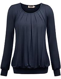 DJT Damen Langarmshirt Rundhals Falten T-Shirt Stretch Tunika Top