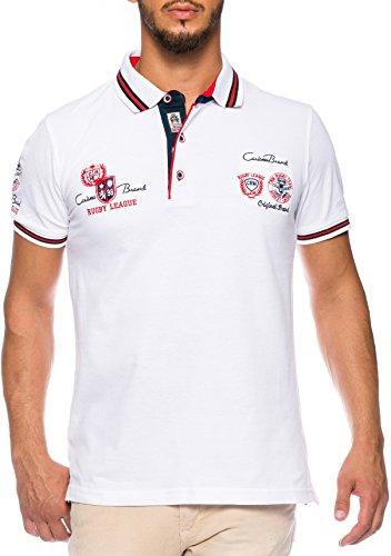 CARISMA Herren Polo-Shirt mit Stickerei, weiss, M (Shirt Stickerei)