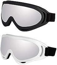 LJDJ Motorcycle Goggles - Glasses Set of 2 - Dirt Bike ATV Motocross Anti-UV Adjustable Riding Offroad Protect