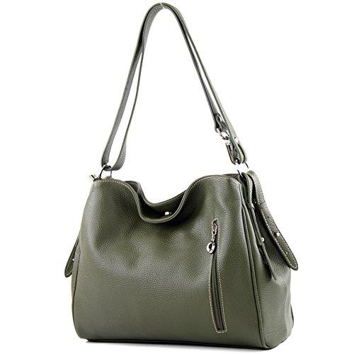 modamoda de - épaule ital/sac à bandoulière en cuir T119, Couleur:ArmyG