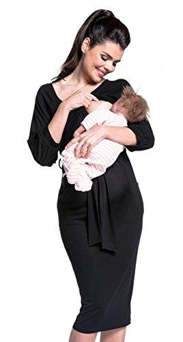 Zeta Ville - Maternité robe grossesse allaitement mi-longue col rond-femme -604c Noir
