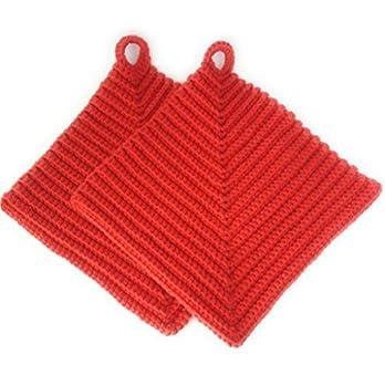 Topflappen 100% Baumwolle gehäkelt ca. 19 x 19 cm in rot