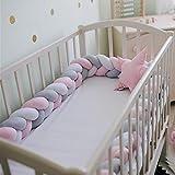 Berceau anticollision Barrière, tour de lit bébé d'allaitement tressée Coussin de lit Décor en peluche noué, bébé Fournitures 3m White and Gray and Green