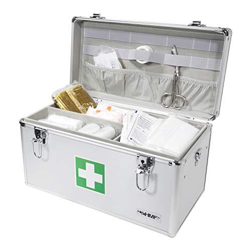 41AN2MBMkEL - HMF 14701-09 Botiquín de Primeros Auxilios, Depósito de Medicamentos, asa de Transporte, Aluminio, 40 x 22,5 x 20,5 cm