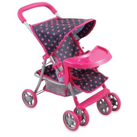 carrito-de-munecas-con-bandeja-y-parasol-puntos-negros-y-rosas-altura-65-cm