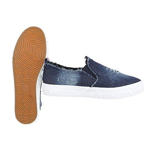 Ital-Design , chaussons d'intérieur femme Blau KK-19