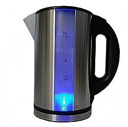 Edelstahl Design Wasserkocher 1,7 Liter Blaue LED Beleuchtung Cool Touch 360° kabellos 2.000 Watt