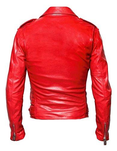 classyak Herren Fashion Brando Stil Echt Leder Moto hoher Qualität Jacke Cow Red