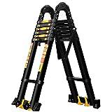 Aluminium-Teleskopleiter - ausziehbare schwarze Mehrzweckleiter for den Heimgebrauch oder for den...