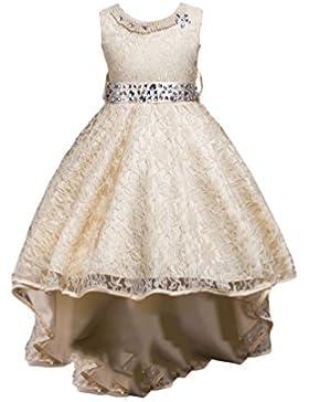 NiSeng Ragazze Senza Maniche Vestito Principessa Pizzo Abito Damigella D'Onore Cerimonia Vestito Elegante Trailing...