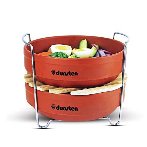 Dunsten stapelbare Dampfgarer-Einsatz Töpfe (6 und 8 Quart) effizient, lebensmittelechte Edelstahl-Griffe, mikrowellengeeignete Steingut-Pfannen für Gemüse, Reis, Fleisch, Nudeln, gesundes Kochen - Nudeln Und Dampfer Gemüse