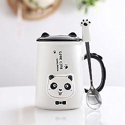 Ldhome Adorable Oso Panda Taza De Cerámica Oficina Creativa Vaso De Agua Amantes Minimalista Tazas Tazas De Leche Cucharas Cubierta 400Ml Lenguas