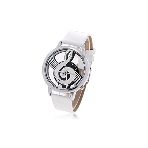 Stylish Women's Musical Note Pattern Round Dial Wrist Watch Ornament (Silver)